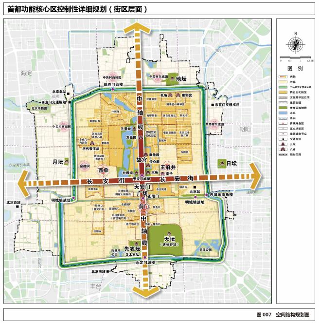 《首都功能核心区控制性详细规划(街区层面)(2018年—2035年)》空间结构规划图