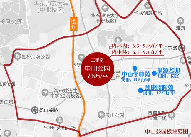 长宁中山公园板块新房及二手房价格分布图