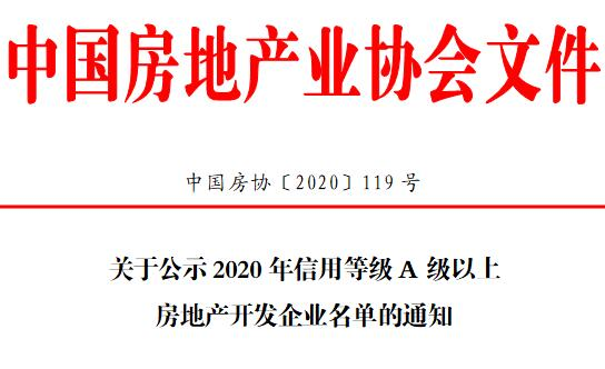 中房协|关于公示2020年信用等级A级以上房地产开发企业名单的通知