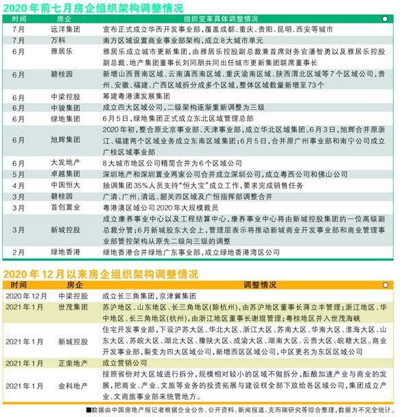 2020年前7月房企组织构架