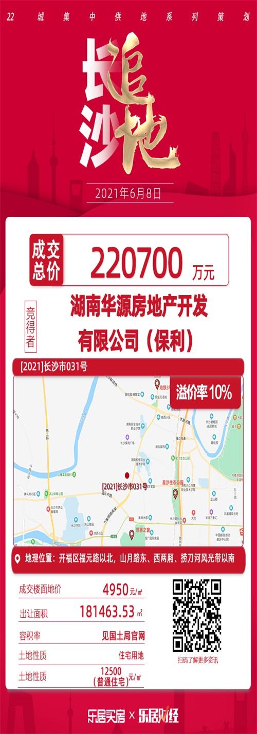摩臣3首页保利22.1亿元竞得长沙开福区纯住地 楼面价4950元/㎡