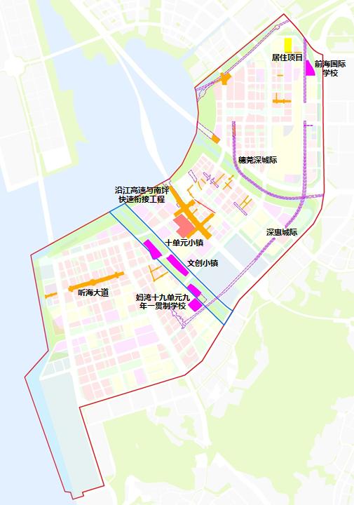 前海合作区2021年度部分项目供地范围示意图