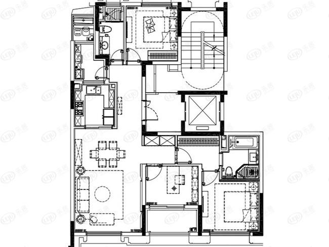 约124平3室2厅2卫E户型