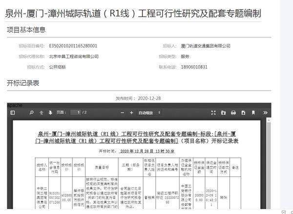 厦漳泉R1线可行性研究阶段