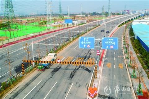 季華北路北延線工程(沙口大橋)昨日正式通車。/佛山日報記者符詩賀攝