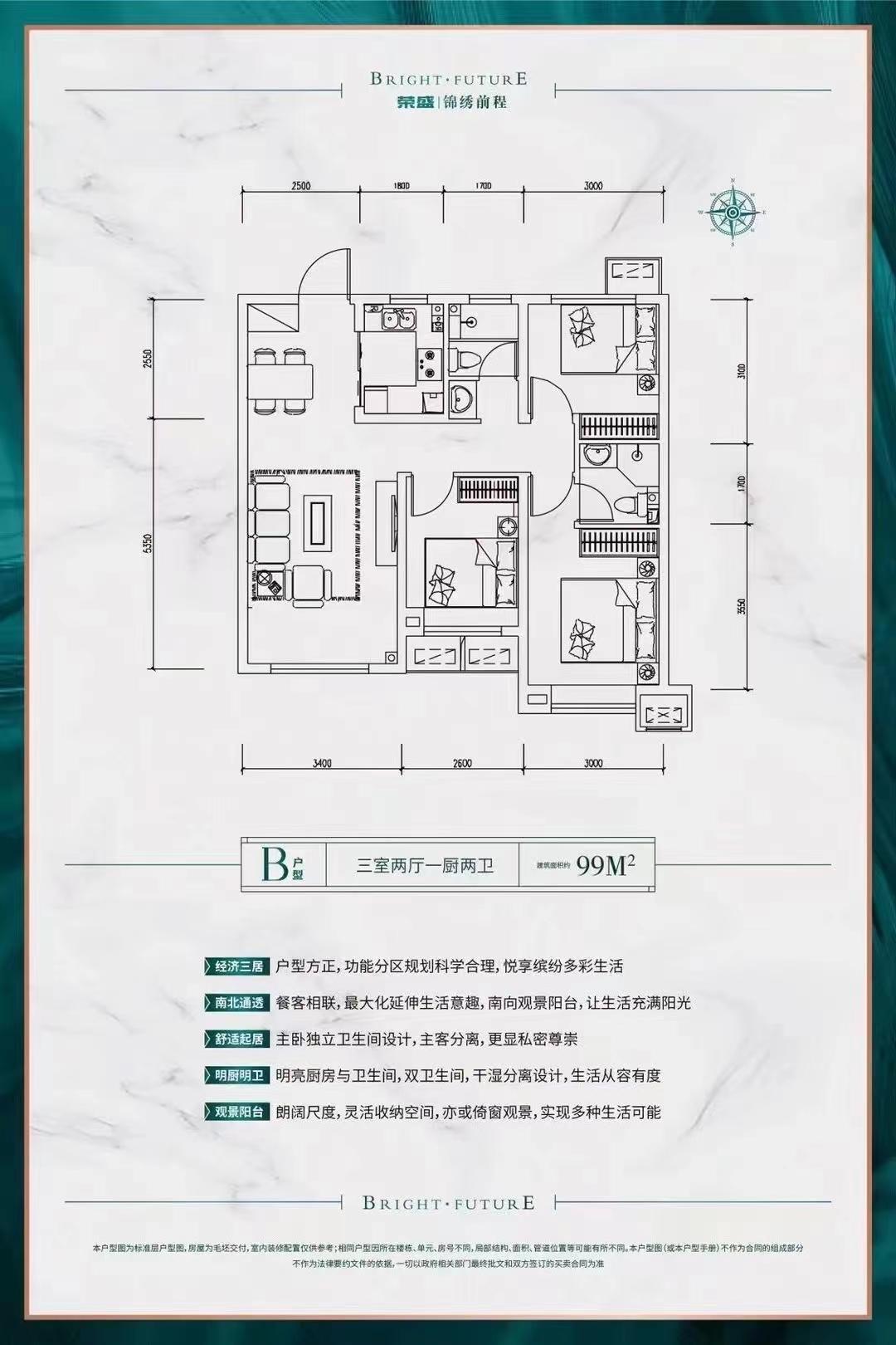 荣盛·锦绣前程99㎡三室
