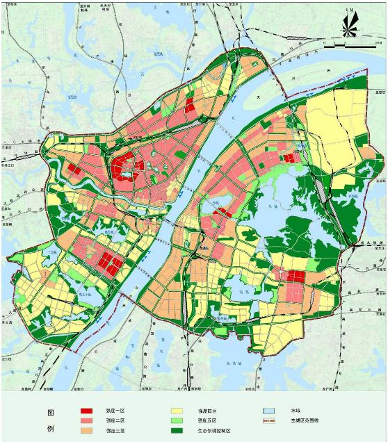 武汉市主城区居住用地建设强度分区区划图