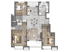 中建京西印玥3室2厅2卫户型图
